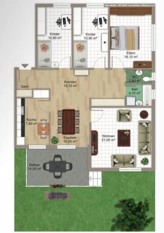 5 1/2  Zimmer   Hochparterre Wohnung  in Ottenbach (2)