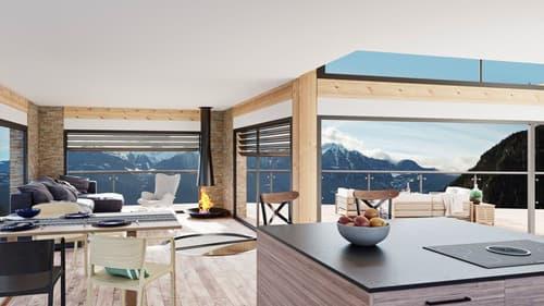 Projet de villa autonome avec belle vue sur l'arc alpin