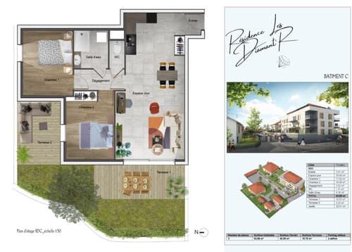 A cinq minutes de MORESTEL appartement T3 de 63,88 m² - Terrain de