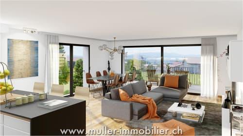 Grand 4 pièces avec balcon et dégagement à Farvagny