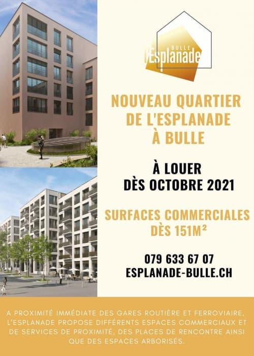 Surface commerciale dès 151m2 au coeur de la ville de Bulle en face de la Gare