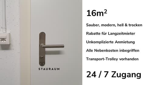 Lagerraum 16m2. Unkompliziert, modern & trocken.