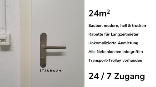 Lagerraum mit 24m2. Unkompliziert, modern & trocken.