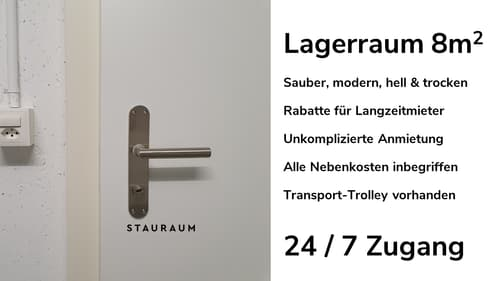 Lagerraum 8m2. Unkompliziert, modern & trocken.