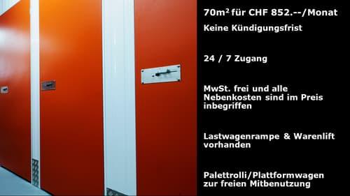Lagerraum 70m2 im Basel Dreispitz. Keine Kündigungsfrist.