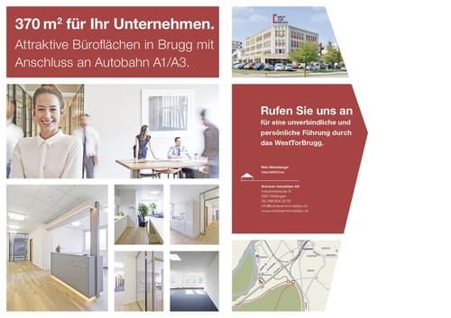 Attraktive 370 m2 Bürofläche in Brugg mit Anschluss an Autobahn A1/A3