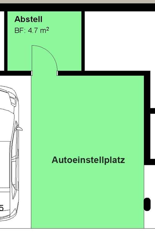 Grosser Autoeinstellplatz, mit separatem Abstellraum