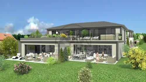 Magnifiques attiques avec grande terrasse et jardin à Seiry Lully