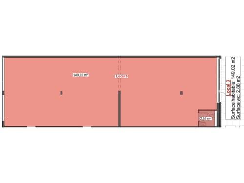 Surface commerciale brute de 151 m2 aménageable au gré du preneur Venez découvrir notre appartement témoin à nos portes-ouvertes les samedis 10 juillet et 14 août 2021 de 09h00 à 16h00.