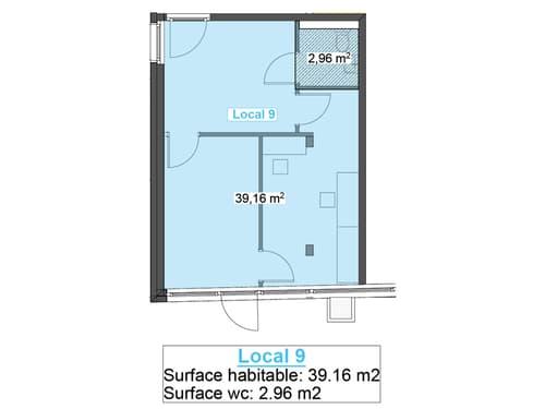 Surface commerciale brute de 42 m2 aménageable au gré du preneur Venez découvrir notre appartement témoin à nos portes-ouvertes les samedis 10 juillet et 14 août 2021 de 09h00 à 16h00.