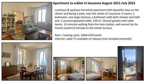 Appartement à sous-louer à Lausanne Août 2021- Juillet 2022