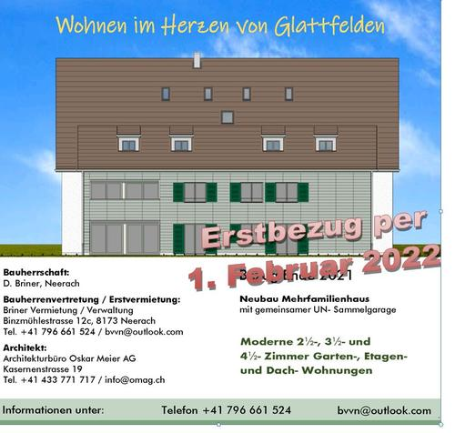 Erstvermietung 4 1/2-Zi. Etagen & Dachmaisonette-Wohnungen Neubau Hofstrasse 12 + 14, Glattfelden