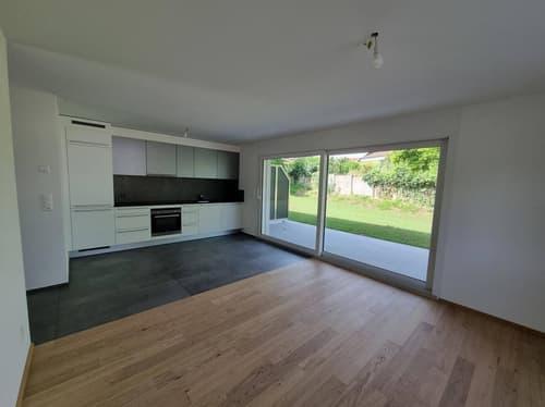 Jardin privatif, construction neuve, première location, PREMIER LOYER OFFERT - Appartement 2.5 pièces Chevroux.