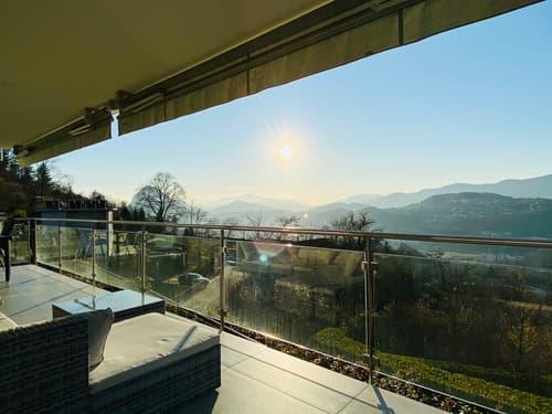 Davesco - luminoso appartamento 3.5 loc. con balcone di 25 mq - magnifica vista sul golfo di Lugano
