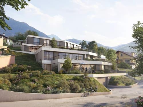 Nuovo progetto di sei 3,5 e 4,5 con ampi giardini e terrazze.