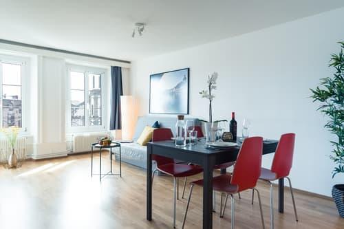Grosszügige und eingerichtete 2 Zimmer Wohnung mit Blick auf Jesuiten-Kirche