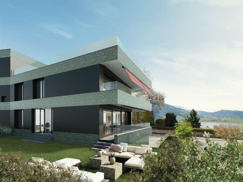 Moderne 3.5-Zimmer-Gartenwohnung mit wunderbarem See- und Bergpanorama