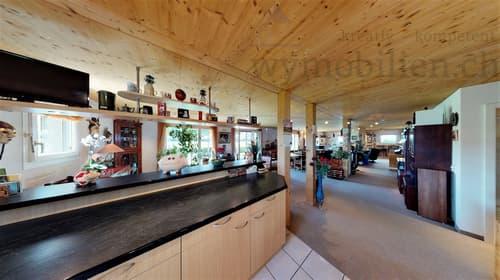 Blick von der Küche in den riesigen Wohnbereich