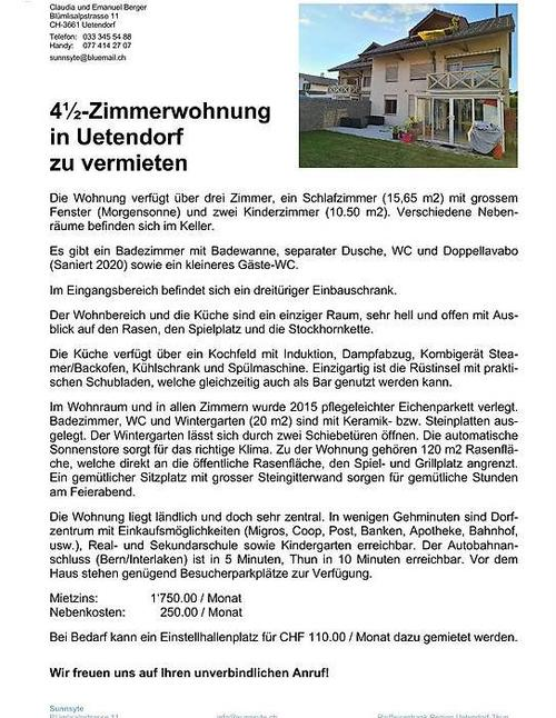 4,5-Zimmerwohnung in Uetendorf