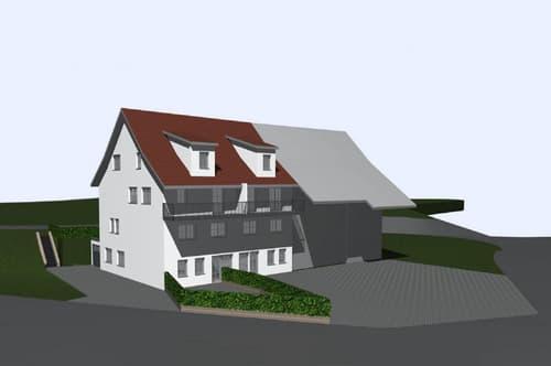 Vorderansicht mit Eingang für die 2 EG-Wohnungen