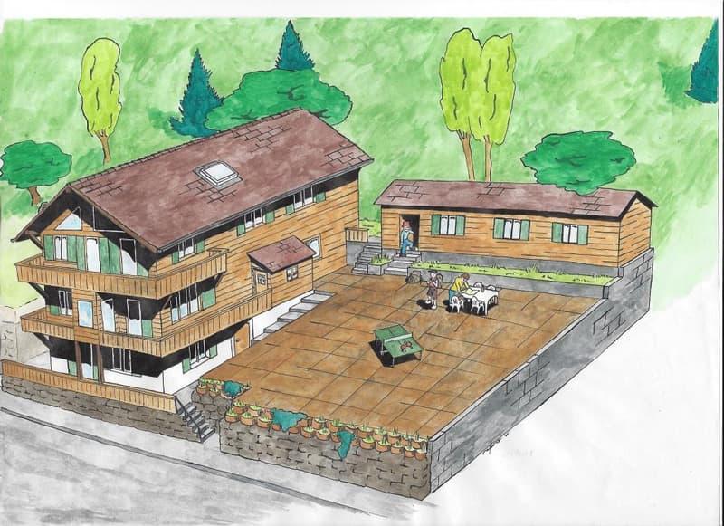 Directement du propriétaire : Ancien Chalet locatif à transformer à Arveyes / Villars-sur-Ollon pouvant atteindre 6 appartements (2)