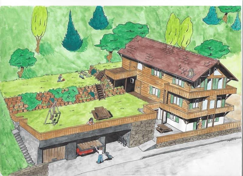 Directement du propriétaire : Ancien Chalet locatif à transformer à Arveyes / Villars-sur-Ollon pouvant atteindre 6 appartements (1)