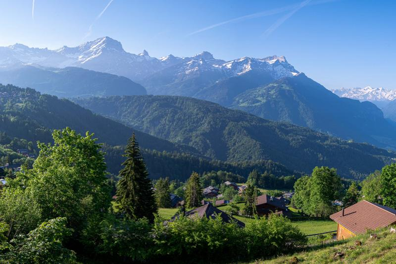 Terrain au calme et avec vue panoramique à Chesières-Villars (2)