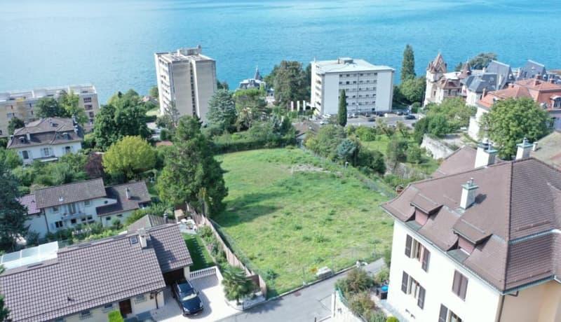 A 5 min. de Montreux. Magnifique vue sur le lac et les alpes pour cette parcelle avec permis de construire une villa de 370 m2 utile (1)