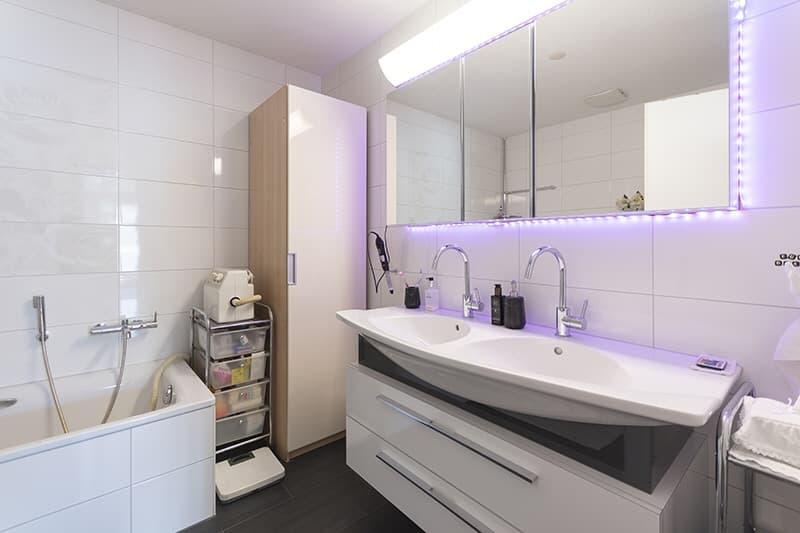 Komfortable Nasszelle mit Dusche, Badewanne und Doppellavabo