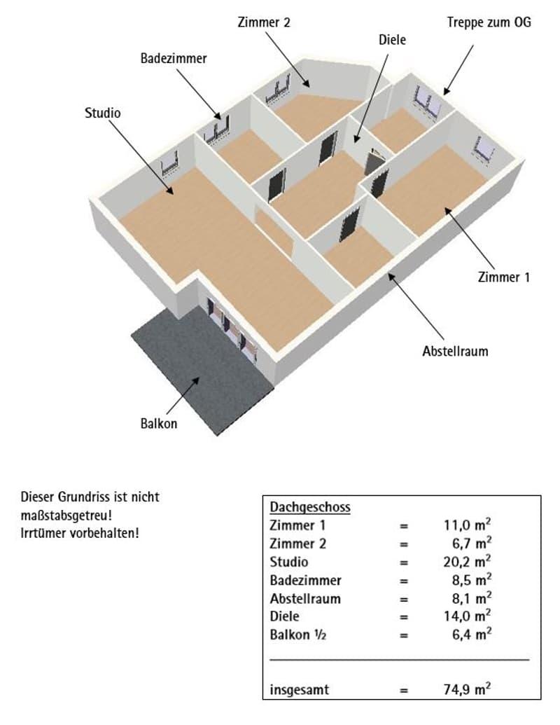Grundriss und WFL Dachgeschoss