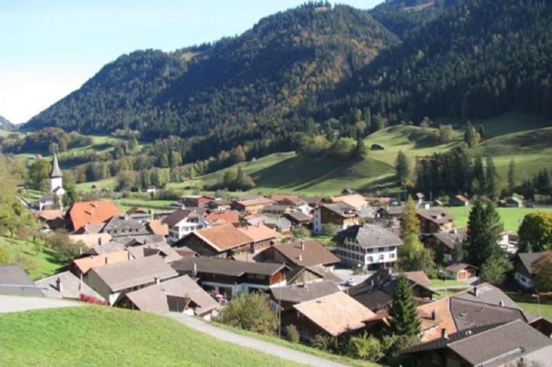 Parzelle mit Aussicht Richtung Dorf
