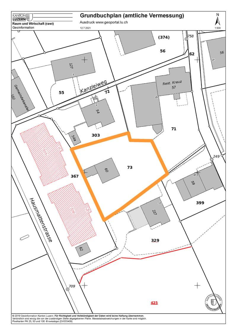 Erschlossenes Bauland mit 937 m2 in der Dorfkernzone von Pfeffikon LU (2)