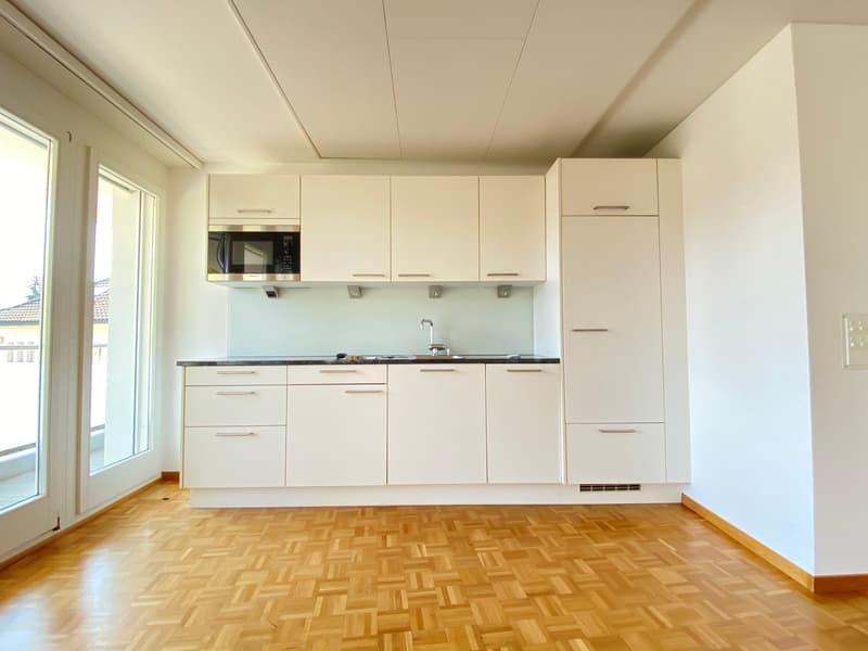 Moderne Küchenzeile mit Mikrowelle