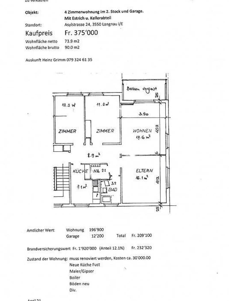 4 Zimmerwohnung im 2. Stock und Garage, Estrich und Keller (1)