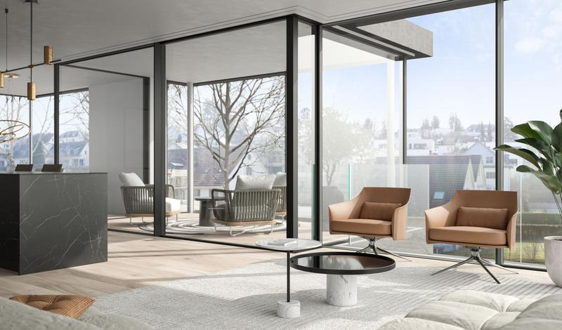 Visualisierung Wohnzimmer mit Wintergarten