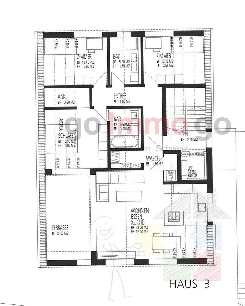Haus B Dachgeschoss 4.5 Zi.Wohnung