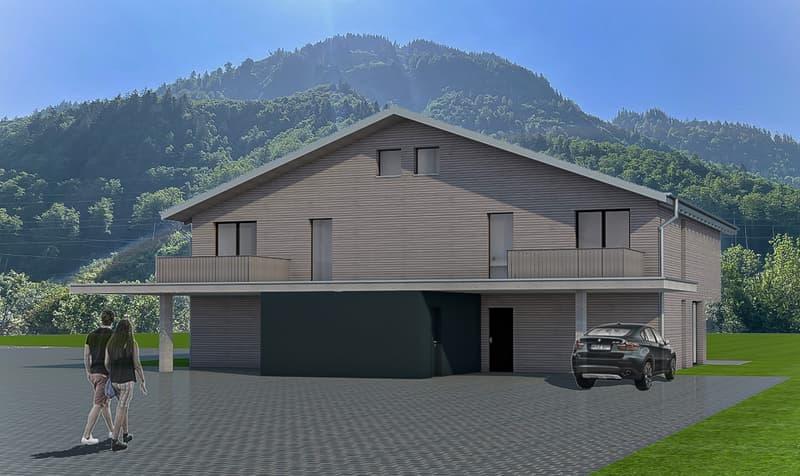 Neubau Doppel-Einfamilienhäuser mit Sicht auf die Glarner Alpen (2)